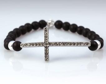 Stretch bracelet - matte black onyx, crystal cross