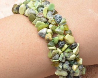 Gorgeous Multi Colored African Turquoise Chip Silver Bracelet Perfect Gift