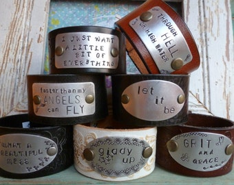 CUSTOM Hand-Stamped Leather Cuff Bracelets > Your Words. OOAK Gift. Lyrics. Quotes. Music. Inspirational. Personal. Rustic Style. Unique