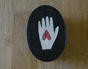 Folk Art Hand n Heart Box...Free Shipping...20% Off Coupon...TAKE20