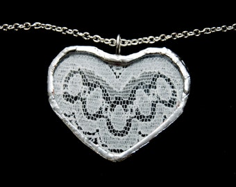FREE SHIPPING  Soldered Lace Heart Necklace