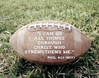 Vintage Football Portrait Boys Room Decor - Christian Art Photo - Scripture Bible Verse -Phillipians 4: 13 Coach Gift