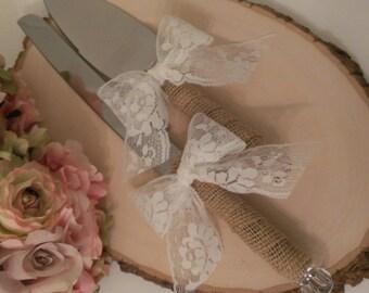rustic cake knife burlap and lace wedding cake serving set rustic wedding cake server and knife(K106)
