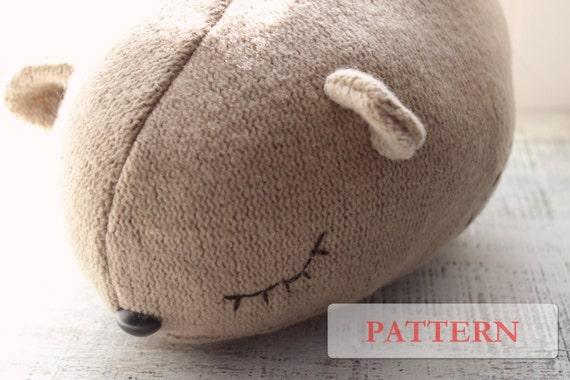 Items similar to PATTERN for sleepy 3D bear pillow stuffed animal diy teddy bear soft toy on Etsy