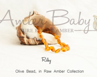Pure Raw Baltic Amber Teething Necklace - Riley Color - RAW