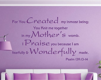 Bible Quotes About Mothers Entrancing Psalm 139 13 14  Etsy