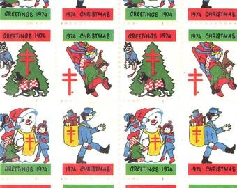 1974 Christmas Greeting Seals  - Full Sheet, 100 Vintage Christmas Seals