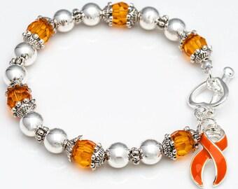 SALE! Leukemia Awareness, Kidney Cancer Awareness, Orange Ribbon and  Beaded Stretch Bracelet