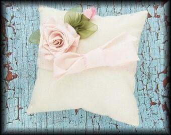 Pink Rose Muslin Ring Bearer Pillow