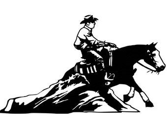 Horse decal-Western Horse Wall sticker-Reining Horse Decal 3 - 27 x 16 inches- wall decor,778-HR