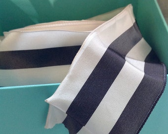 pewter and white striped wired ribbon