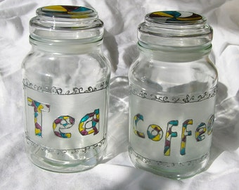 Tea and coffee storage jar / canister set: 'Harlequin'