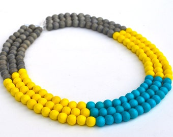 colorful necklace / statement necklace / turquoise yellow grey necklace / wood bead necklace / multi color necklace / color block necklace