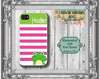 Preppy Frog iPhone Case, Personalized iPhone Case, Monogram iPhone Case, iPhone 4, 4s, iPhone 5, 5s, 5c, iPhone 6, 6s, 6 Plus, Phone Case