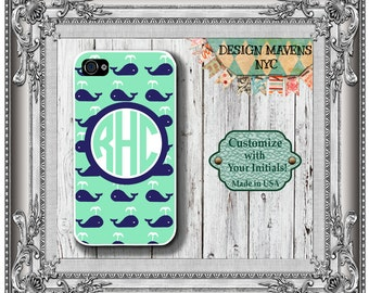 Preppy Whale Monogram iPhone Case, Personalized iPhone Case, iPhone 4, 4s, iPhone 5, 5s, iPhone 5c, iPhone 6, 6s, iPhone 6 Plus, iPhone Case