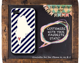 Personalized iPhone Case, State Love Maine Lobster  iPhone Case, iPhone 4, iPhone 4s, iPhone 5, iPhone 5s, iPhone 5c, iPhone 6