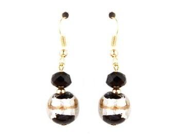 Black Striped glass earrings - black, silver, gold, stripes, murano glass, murano, glass, beaded earrings, lampwork, venetian glass, casual
