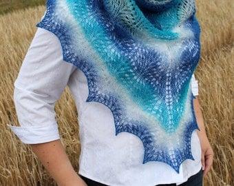 Blue lace shawl, Turquoise knitted shawl, Wool wrap, Gradient ombre blue shawl, Wool shawl, Triangular shawl