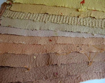 10 Beautiful Sheets of Handmade Paper Brown Shades