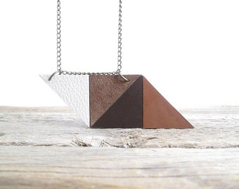 Brown Leather Necklace Geometric leather necklace
