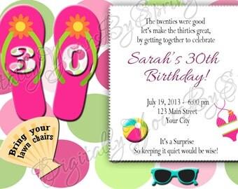 Printable Beach/Pool Party Invitation - You Print DIGITAL FILE