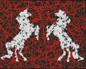 Horse Vs. Horse - Counted Cross Stitch and Needle Point Chart Pattern