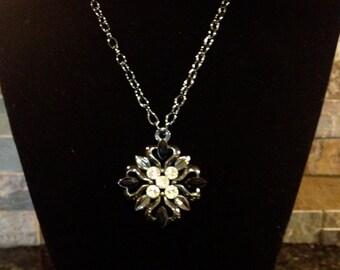 Black Pewter Gunmetal Chain Necklace with Black Pewter Diamond Pendant