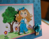 Fresh Picked Flowers-  Handmade Greeting Card, Girl in Blue carrying a Basket of Flowers