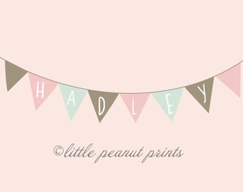 Customized 10 x 8 or 11x14 Name Bunting Nursery Art Print | Personalized Room Decor