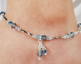 Anklet, Ankle Bracelet, Aqua Denim Blue Anklet Double Dangle Anklet Crystal Anklet Beach Jewelry, Foot Jewelry, Beaded Anklet, Ankle Jewelry