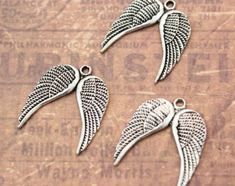 10 Angel Wing Charms Wing Pendants Antiqued Silver Tone 18 x 20 mm