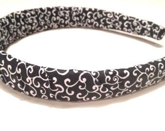 Womens Headbands - Black and White Vines - Womens Headband - Hair Accessories - Adult Headband - Fabric Headband