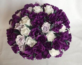 Wedding flowers,bridal flower,paper flower,roses purple,rose white,wedding bouquet, bridal bouquet,wedding decor,bridal decor,