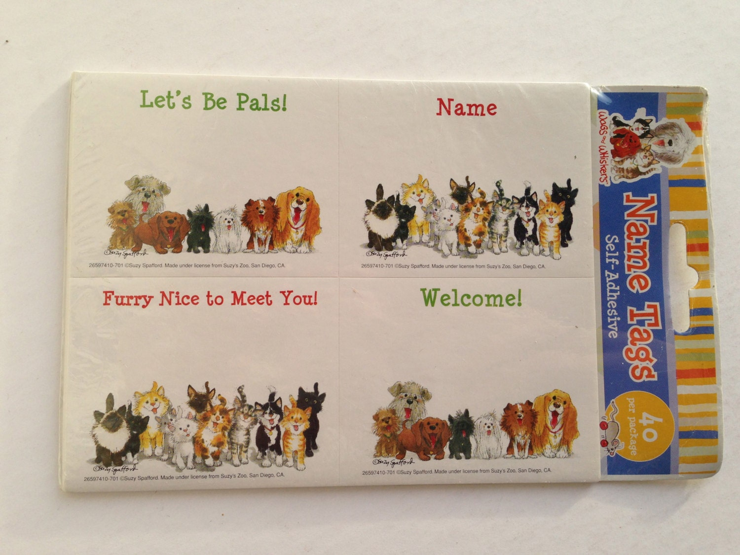Self stick juvenile name tags suzy zoo cat and dog sticker for Stickers juveniles
