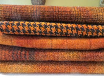 """Hand dyed and felted wool for rug hooking and other fiber arts projects  """"pumpkin textures"""""""