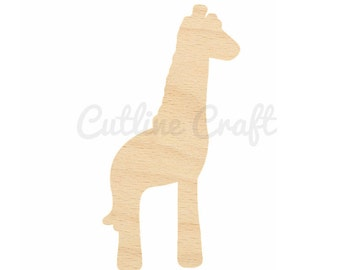 Baby Giraffe Style 36 Cutout Crafts, Gift Tags Ornaments Laser Cut Birch Wood Various Sizes