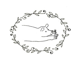 Hand Embroidery Bear Digital Downloadable Pattern pdf 0090