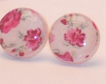 Darling's Pink Rose Post Earrings