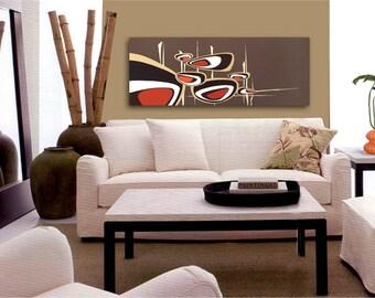 mid century modern abstract painting retro tiki 1950s 1960s