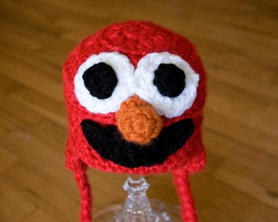 Free Crochet Pattern For Elmo Beanie : Elmo Hat Crochet Pattern Elmo Baby Hat Pattern by TheTwistedK