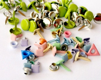 Brads and Eyelets, Pastel Mix, Scrapbooking Embellishments, Variety of Sizes, Shapes, & Colors