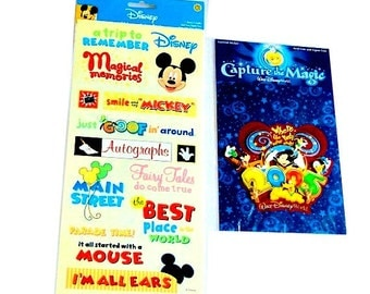 """Disney Scrapbooking 4 Page Kit, Stickers, 12"""" x 12"""" Paper Destash Lot, Mickey Mouse, Paper Crafts, Card Making"""