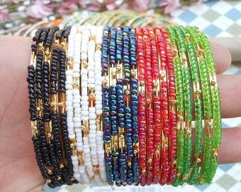 20pcs Mixed colors bead bracelet gold basic
