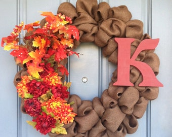 Fall Dark Brown Burlap Wreath with Fall Accents
