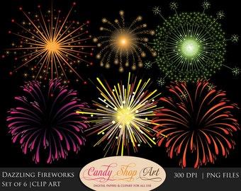 Sale! Dazzling Fireworks Clipart, Fireworks Clip Art, Firework Display Clipart, Wedding Fireworks, 4th of July- Instant Download