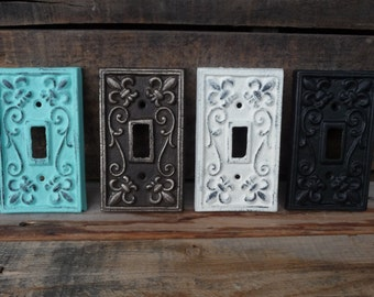 Vintage Style Cast Iron Metal Switch Plate Switchplate Cover Light Switch ~ Gold ~ Aqua Teal ~ Black ~ White