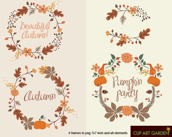 INSTANT DOWNLOAD Autumn frames. Digital clipart elements. (webdesign, paper crafts, card making, scrapbooking)