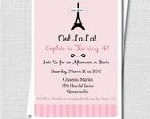 Custom Paris Birthday Invitation - Paris Themed Girl Birthday - Digital Design or Printed Invitations - FREE SHIPPING