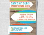 Surf Beach Party Invitation - Surfing Themed Party - Boy Summer Birthday Invite - Digital Design or Printed Invitations - FREE SHIPPING