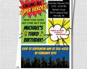Custom Superhero Birthday Invitation - Comic Book Theme - Superhero Photo Invite - Digital Design or Printed Invitations - FREE SHIPPING